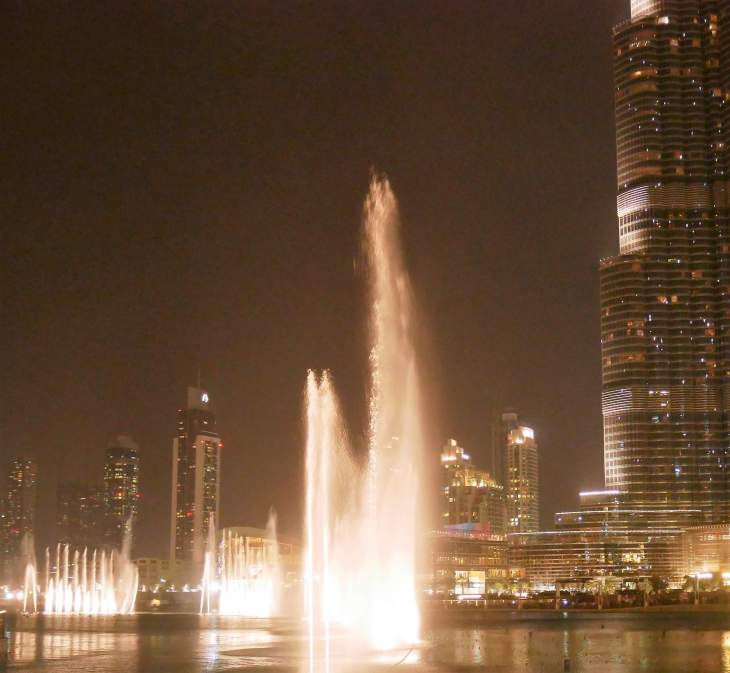 Round the world with my family at a fountain show in Dubai