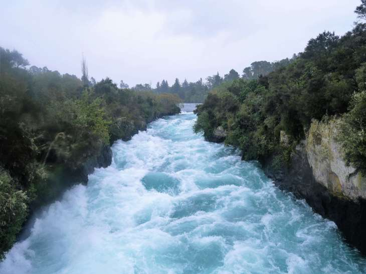 Round the world with my family at Huka falls