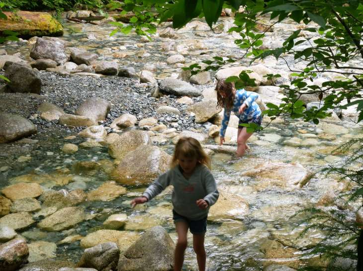 Kids playing at Shannon Falls, Canada